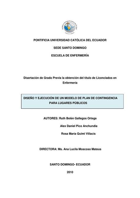 Modelo Curriculum Universidad Catolica Modelo De Plan De Contingencia Para Lugares P 250 Blicos By Pontificia Universidad Cat 243 Lica