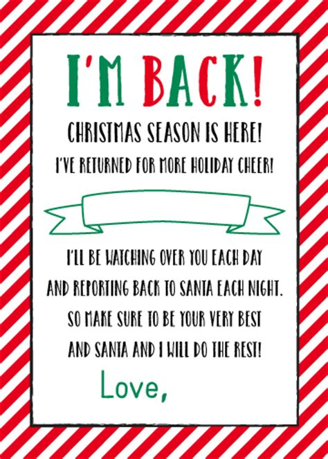 printable elf on the shelf return letter free printable quot i m back quot elf on the shelf letter 5