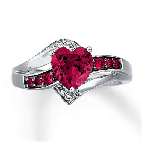 Kay   Lab Created Ruby Ring Heart Cut with Diamonds