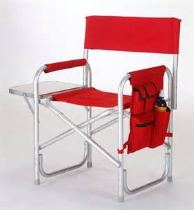 Sport chair with folding side table amp side panel pockets red