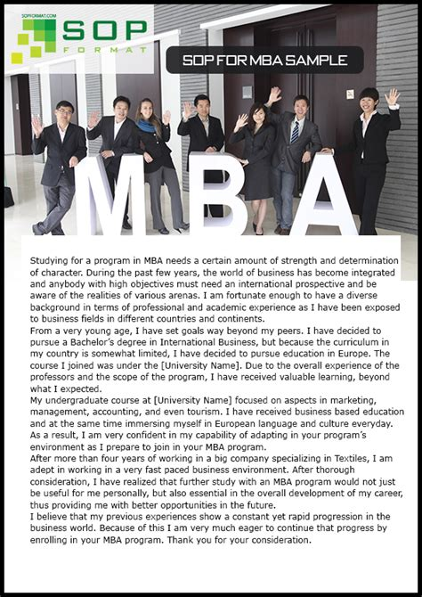 Mba Computer Requirements by Correct And Professional Sop Format For Mba Sop Format