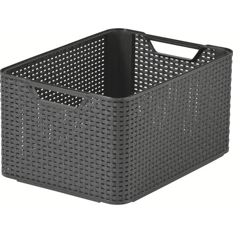 bathroom boxes baskets buy large dark brown stacking box plastic rattan style