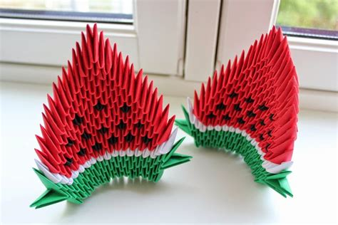 3d Origami Simple - 3d origami watermelon origami flower easy