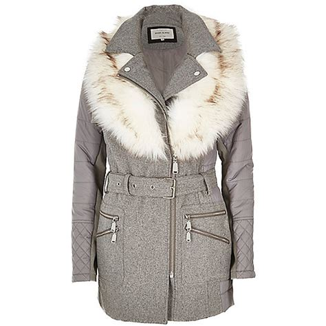 grey faux fur collar padded coat coats coats jackets