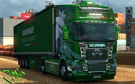 scania rjl emerald 40 anniversary scania finance skin mod