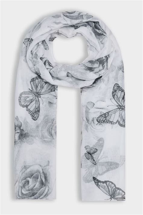 Address Finder By Name Uk Grey Butterfly Print Scarf