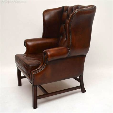 leather wing armchair antiques atlas antique deep buttoned leather wing back