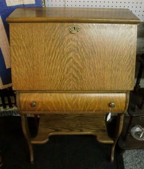 Antique Tiger Oak Desk by Fantastic Antique Tiger Oak Drop Front Desk Finish Ebay