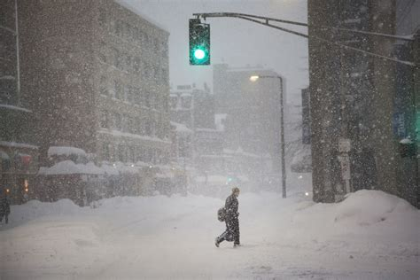 Walks Out Dumps The by Blizzard Dumps Another Foot Of Snow On Winter Weary Boston