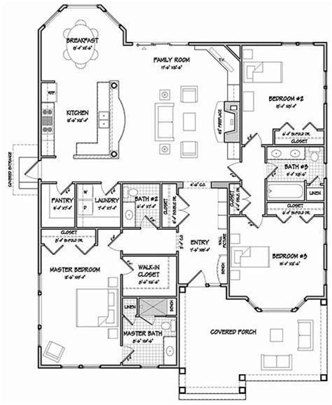 one story floor plan add garage with a workshop off the kitchen side likes covered porch