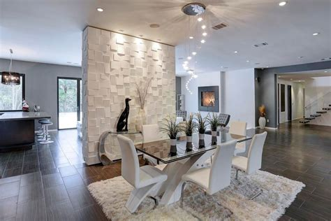 modern wall for dining room modern dining room with travertine tile floors high