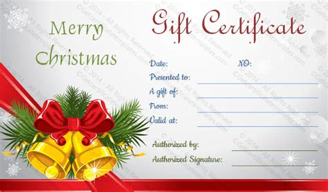 christmas printable voucher templates 20 holiday gift certificate templates free sle