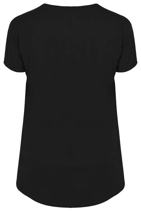Tshirt Circle C3 t shirt 224 poche noir avec ourlet arrondi grandes tailles
