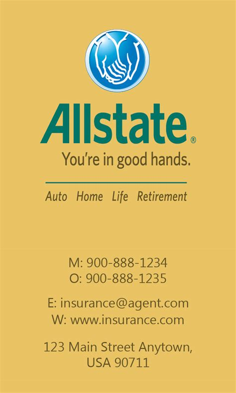 yellow allstate business card design 201315