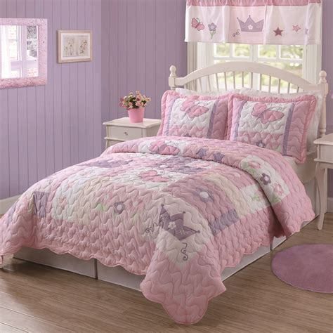 kids girls butterfly princess purple amp pink twin bedding quilt amp sham set  ebay