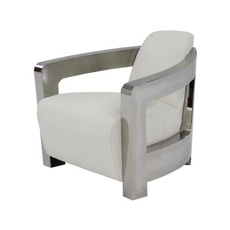 White Leather Accent Chair Aviator White Leather Accent Chair El Dorado Furniture