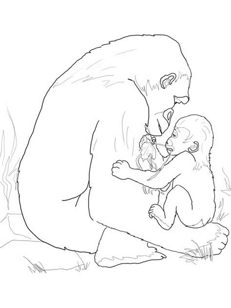 Baby Gorilla Coloring Page | gorilla free colouring pages