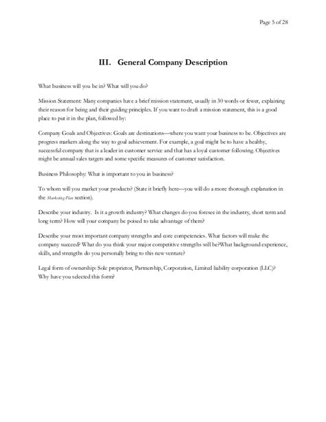 general business plan template business plan template
