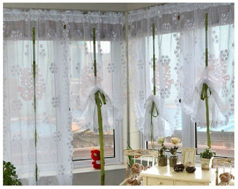 sheer burlap curtains free shipping new fashion elegant white embroidery rod