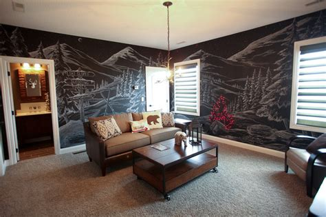 ski lodge themed room rustic family room dublin by