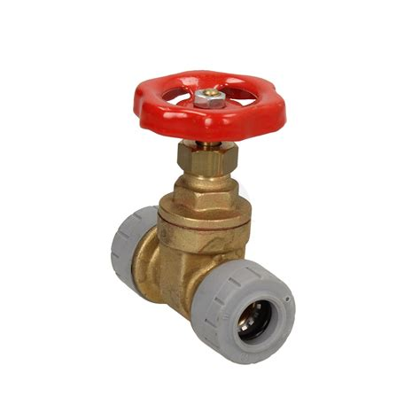 polyplumb 15mm grey push fit gate valve with brass