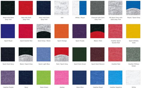 colors t t shirt color chart houston screen print