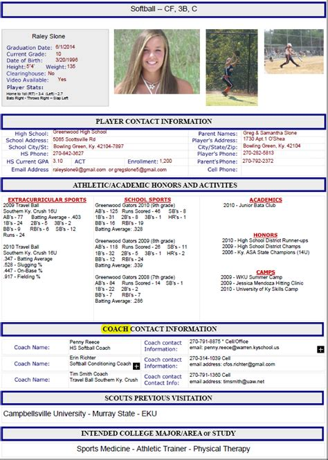 Sports Profile Template by Athletic Resume By Guide To Athletic Scholarships Guide
