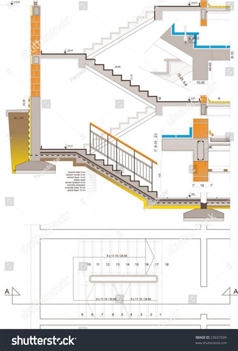 section through staircase section through stairs stock vector 23657509 shutterstock