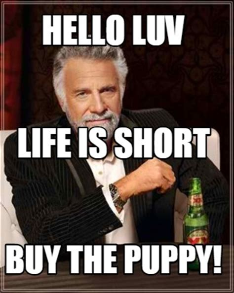 Life Is Short Meme - meme creator hello luv buy the puppy life is short meme