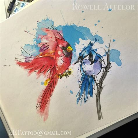watercolor cardinal tattoo abstract watercolor cardinal and bluejay by rowell