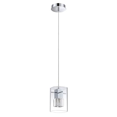 Rectangle Pendant Light Shop Kendal Lighting 4 75 In Chrome Industrial Mini Clear Glass Rectangle Pendant At Lowes