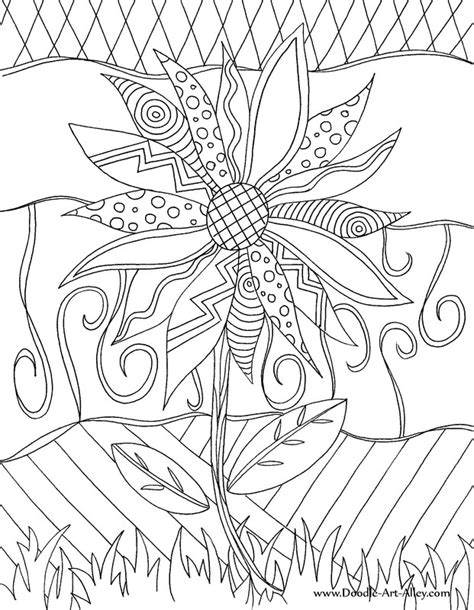 Flower Coloring Pages Doodle Alley