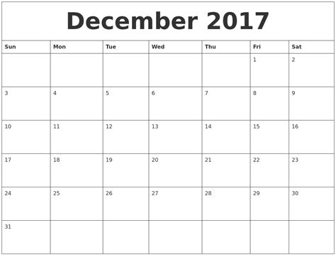 printable monthly calendar for december october 2017 monthly calendar printable