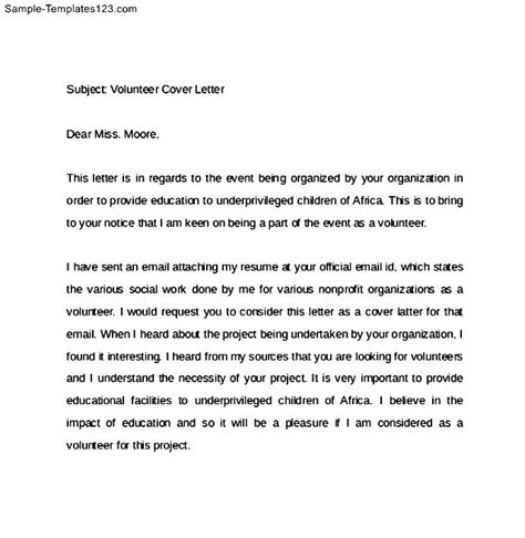 volunteer email cover letter sle templates