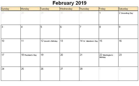 Calendar 2019 February February 2019 Printable Calendar 171 Printable Hub