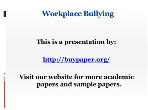 thesis about workplace bullying workplace bullying