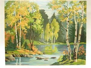 Planter Vase Vintage Paint By Number Pbn Landscape Woodland By Ceegeesattic