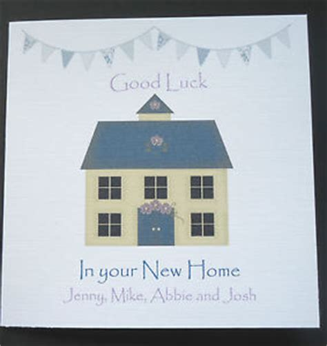 personalised shabby chic luck in your new home card