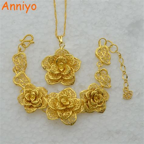 anniyo big flower jewelry set gold color africa wedding bridal  womenparty dubai gifts