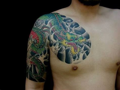 dragon tattoo chest to arm arm chest japanese dragon tattoo by tattoo hm