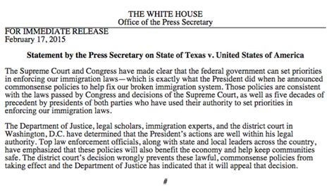 white house press release federal judge blocks obama s executive action on immigration the white