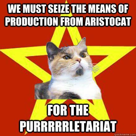 Memes Means - we must seize the means of production cat meme cat
