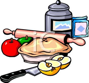 clip art illustration of kitchen implements and an apple pie