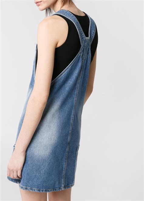 Patched Denim Dress Mango mango denim pinafore dress in blue lyst