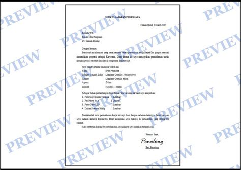contoh surat lamaran kerja terlengkap belajarpsikologi review ebooks