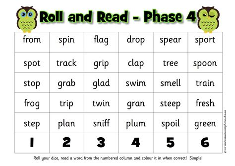 letters sounds phase 4 words roll and read activity