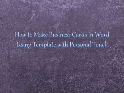 How To Make A Card Template In Mse how to make personalized business cards using template in