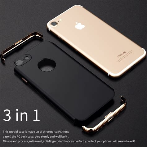 3in1 Casing Iphone 8 Hardcase 360 Cover Premium Black 3 in 1 plating ultra thin pc cover for iphone 7 plus 8 plus sale banggood
