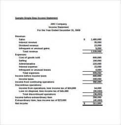 simple income statement template simple income statement 6 sles exles format
