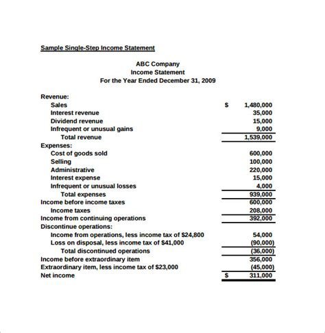 income statements template simple income statement 6 sles exles format